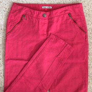 Dalia Collection Pink Pants with Zipper Pockets